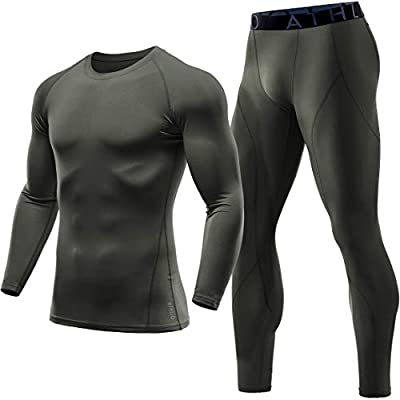 ATHLIO Men's Thermal Set Wintergear Compression Baselayer Active Top & Bottom, Set(lys51) - Olive, 2X-Large