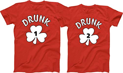 Abdcc St Patrick's Day Drunk Shirt 1 2 3 4 5 Ect Custom Numbers Irish Weed Funny Short Sleeve T-Shirt (Red)