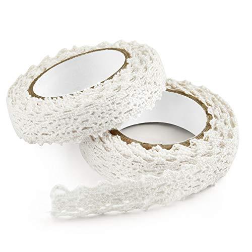 FEPITO Spitzenband Weiß Vintage Spitzenband Selbstklebend Dekoband Spitze Band Spitzenbordüre Bänder zum Basteln (Stil A - Weiß) (White)