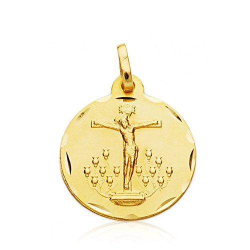 Medalla Cristo de la Laguna 18 mm 18 Ktes. Personalizable, grabado incluido.