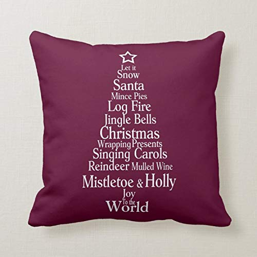 McC538arthy Christmas Quote Throw Pillow Covers, Xmas Tree Word Art Cushion Farmhouse Case Xmas Home Decorations for Sofa Couch 18x18 Inch