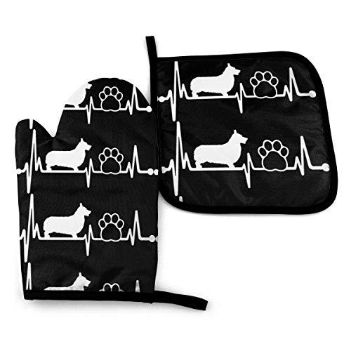 LCYYDECO Corgi Heartbeat Lifeline Dog Paw Oven Mitts y Pot Holder Sets Guantes de Cocina Guantes par