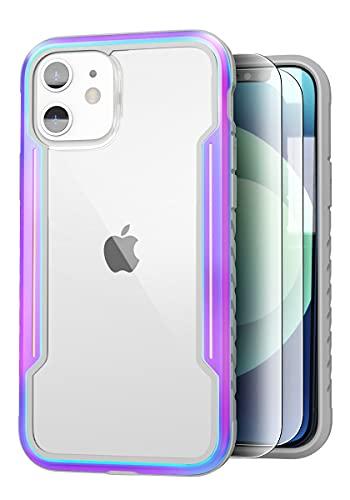 Sicher Cover per iPhone 12 12 Pro Custodia 6,1 Pollici, [2 x Pellicola Vetro Temperato] Hybrid Telaio in Alluminio Antiurto, MagSafe Compatibile, Protezione Militare 2m Test di Caduta, Iridescente