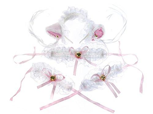CoolChange süßes Katzen Maid Set bestehend aus Haarreifen, Halsband und 2 Armbändern
