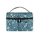Ahomy - Bolsa de maquillaje grande, diseño de flor de cerezo japonés, portátil, organizador de viaje, neceser para mujer