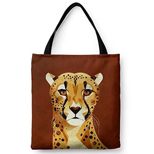WANGNIU Damen Öko Canvas Reißverschluss Schulter Tragetaschen mit Innentasche boxed wiederverwendbare Handtaschen Dutch Flower -Jaguar_L