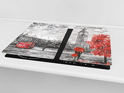 """Tempered GLASS Cutting Board – Worktop saver and Pastry Board; MEASURES: SINGLE: 23,62"""" x 20,47""""; DOUBLE:2 x 11,81"""" x 20… 2 TEMPERED GLASS Kitchen Boards, (cooktop covers, worktop savers or chopping boards), are both highly functional and beautiful is a must-have in every modern home; its colorful, artistic designs bring a sleek and contemporary style to your kitchen or dining area MULTIPURPOSE GLASS BOARD can be used as cutting board (meat, fish, vegetables & fruits), as a serving tray, glass trivet, hot pot stand, cheese fruit platter, pastry board, WORKTOP SAVER and as INDUCTION COOKTOP COVER (depending on the size chosen) SAFE & DURABLE GLASS CUTTING BOARD is made entirely from hygienic, impact and shatter resistant tempered glass, Polished edge with rounded corners; Anti-slip feet on the bottom;"""