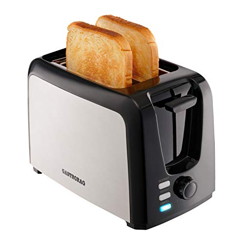 Gastrorag 2 Slice Toaster – Wide Slot Stainless Steel Toaster with 7 Bread Shade Settings, Reheat/Defrost/Cancel Functions, Removable Crumb Tray, Cool Touch & Easy Clean, Black/Silver