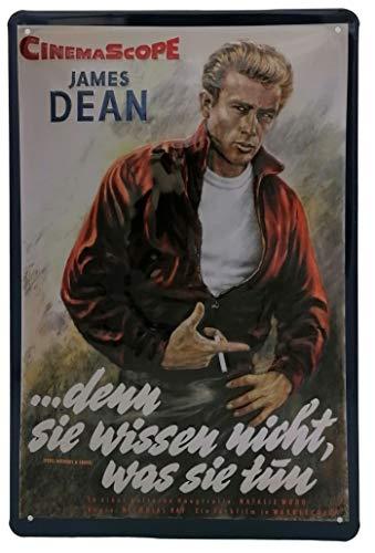 Mehr Relief-Schilder hier... James Dean, hochwertig geprägtes Filmplakat - Blechschild 30 x 20 cm, Plakat Portrait Reproduktion Wanddekoration