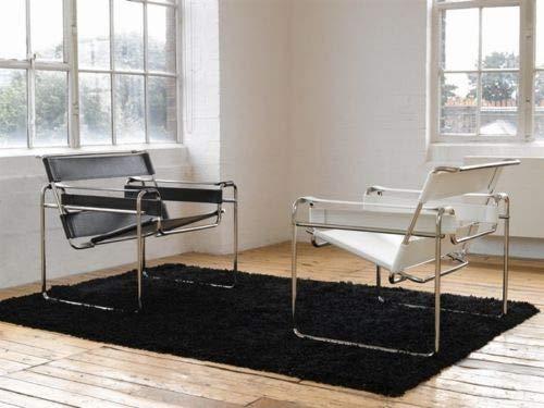 Sessel Wassily weiß oder schwarz Marcel Breuer Leder Stahl Echtleder Design