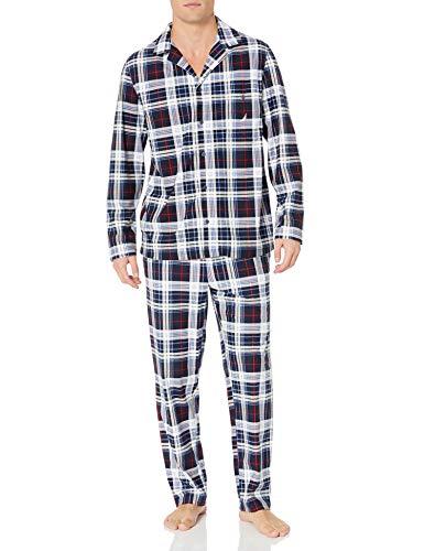 Nautica Men's Cozy Fleece Plaid Pajama Set, Maritime Navy, Large