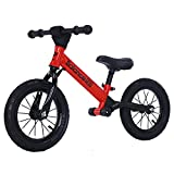 Aelro Bicicleta de equilibrio de 14 pulgadas – Bicicleta de entrenamiento sin pedales – Bicicleta de 3 – 8 años – Marco de acero ligero cromado con asiento ajustable scooter infantil (rojo)