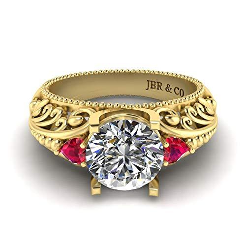 Jbr Vintage Art Deco Anillo de plata de ley de corte redondo, joyería romántica regalos para ella anillos de compromiso solitare
