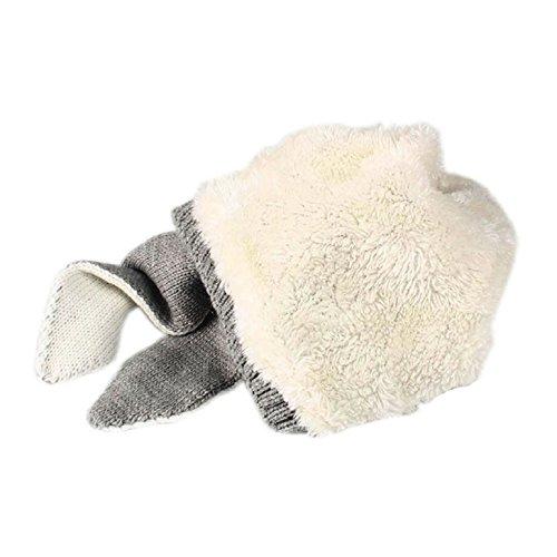 Tuopuda® Cappello Invernale Bambino Neonato Cappello con Orecchie Cappello Pile Berretto Maglia (Grigio)