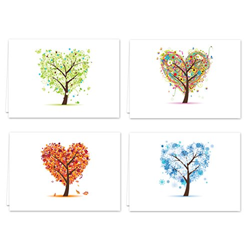 """Seasons of Life Note Card Assortment Pack/Set Of 24 Greeting Cards And White Envelopes / 4 7/8"""" x 3 1/2"""" Cards Featuring 4 Seasonal Tree Designs"""