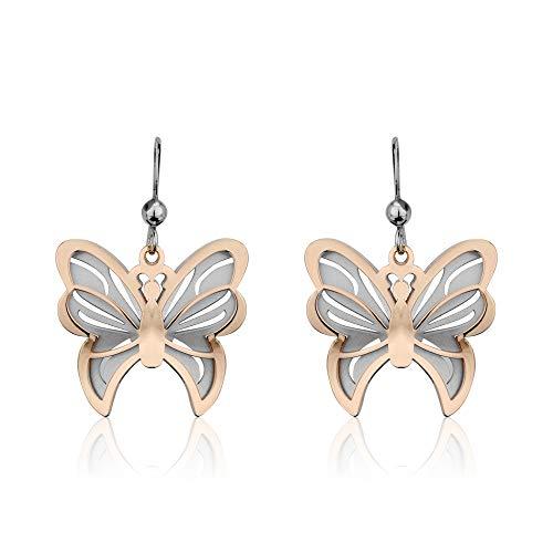 Vanbelle Pendientes Colgantes De Mariposa En Dos Tonos De Plata Esterlina Con Baño De Rodio Y Oro Rosa Para Mujeres Y Niñas
