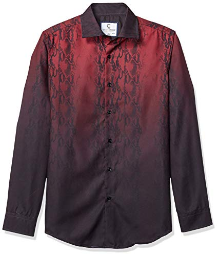 Azaro Uomo Camisa de Vestir de Manga Larga para Hombre, con Botones y Ajustada, Lava Oscuro, Large