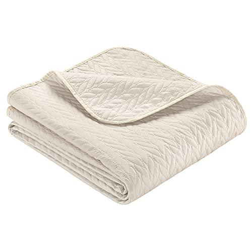 Ibena Nancy Tagesdecke 140x210 cm - Bettüberwurf beige, leichte Decke mit Zopfmuster