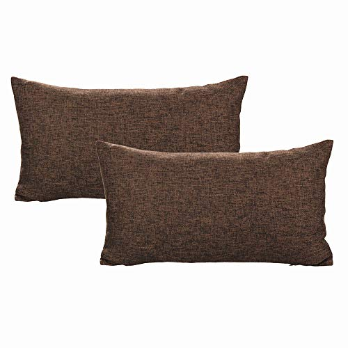 All Smiles Brown Lumbar Pillow Covers Coffee Rectangle Cushion Covers Pack of 2 Solid Color 12'x20' Square Throw Pillow Covers Cotton Linen Decoration for Sofa Couch Bed Patio 30cm×50cm Sand