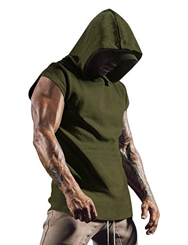 COOFANDY Men's Workout Gym Hooded Tank Top Sleeveless Cut Off Fashion T Shirts
