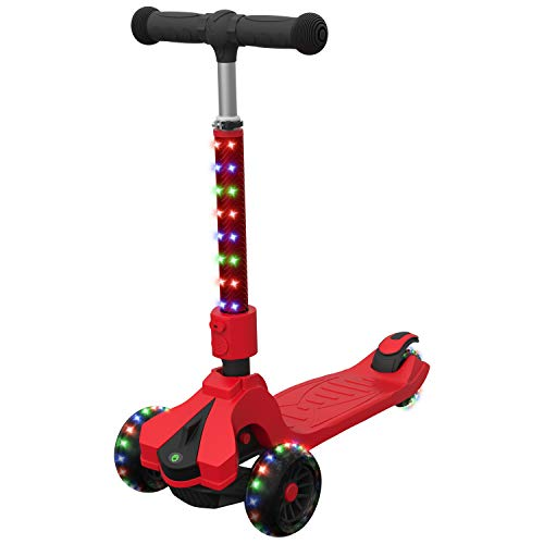 Jetson Saturn Folding 3-Wheel Kick Scooter with Light-Up Stem & Deck, Lean-to-Steer Design with Sturdy Wide Deck & Adjustable Height, for Kids 3 & Up - Red
