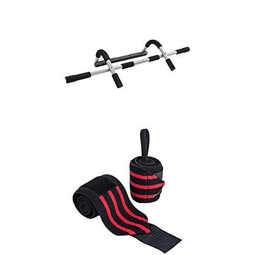Ultrasport Barra Fija multifunción para Puerta, de dominadas con empuñadura Suave para Fitness y musculación (Carga máxima 80 kg) + 2 Piezas Soporte de muñeca, Unisex Adulto, Negro/Rojo