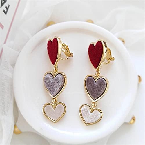 FEARRIN Pendientes Declaración de Moda Diseño Dulce Tres Pendientes de Gota de fantasía de corazón Encantador para Mujer Joyería Redearringsclip
