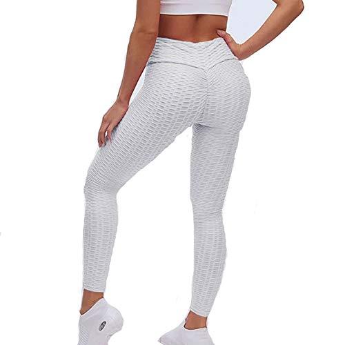 LTTA - Pantalones de yoga de cintura alta para mujer, Honeycomb antif de la celulitis, Tummy Control Workout frucled Butt de levantamiento de pesas suaves con textura, color blanco, XXL