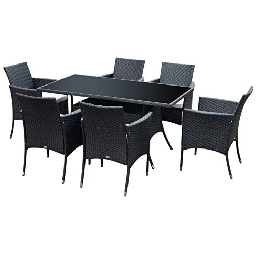 Outsunny Rattan Garden Furniture Dining Set 6-seater Patio Rectangular Table Cube Chairs Outdoor Fire Retardant Sponge Black