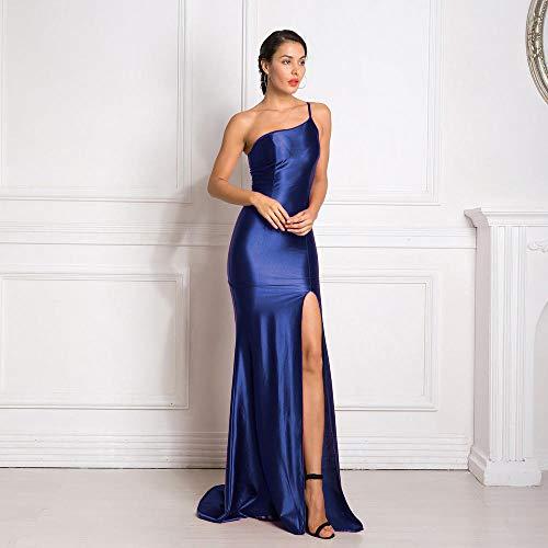Kleider One Shoulder Ärmelloses, figurbetontes Maxikleid mit hohem Rückenausschnitt und Reißverschluss, Bodenlanges Kleid, trägerlos-Navy blau_L