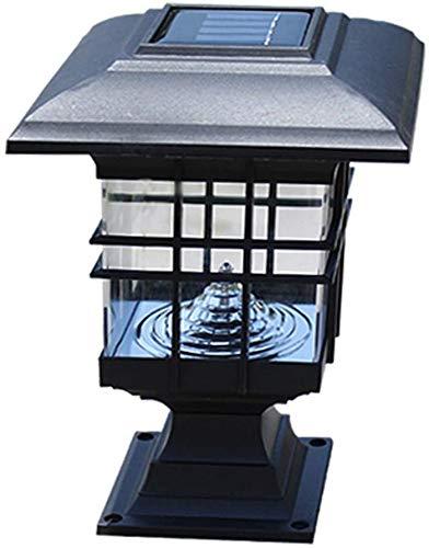 Raelf Wasserdicht IP 65 Landschaftslicht-Rücklicht Zaun Licht Solar-Außensäule Lampe, Solar-Säule Leuchten, Außen Dekorative Säule Lampe Hof Säule Kopf Rasen-Lampe Wand-Kopf-Lampe, warmes Licht