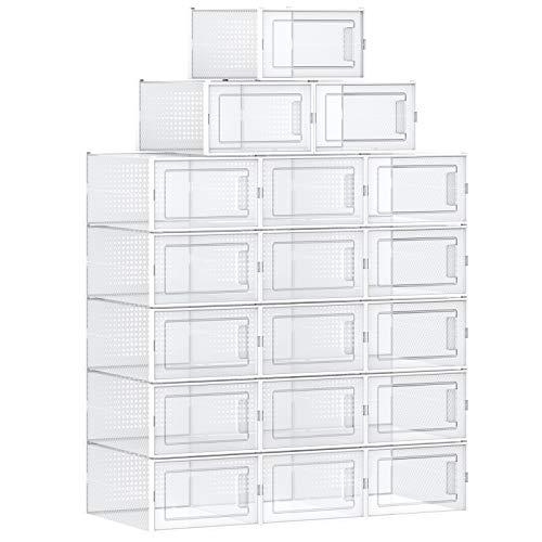 SONGMICS Schuhboxen, 18er Set, Aufbewahrungsboxen für Schuhe, Schuh-Organizer, Kunststoffboxen, faltbar und stapelbar, für Schuhe bis Größe 44, transparent-weiß LSP18MWT