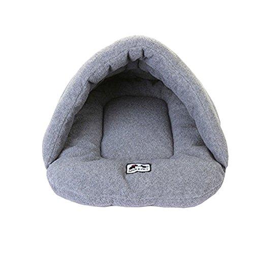 MissPet Hundehöhle Katzenhöhle Weiche Hundebett Pet Nest Warm Haustierhütte Haus für Hunde & Katzen Grau Size L: 58*68CM