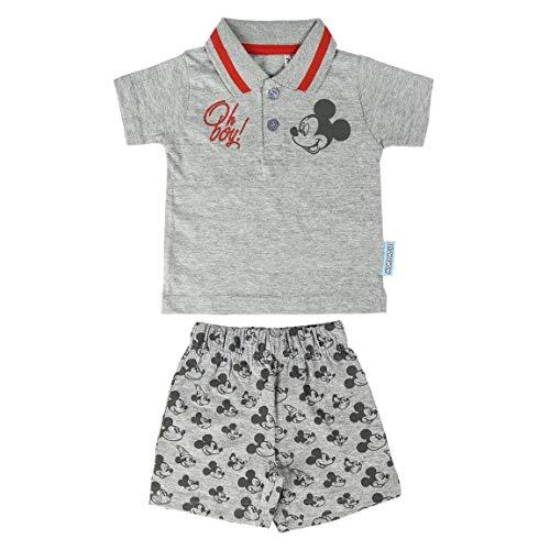 Cerdá Conjunto Bebe Niño Verano De Mickey Mouse Disney-12 Meses-Polo + Pantalon De Algodon Ensemble de Shorts, Gris, Petit Mixte Enfant