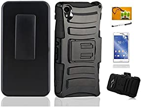 LF 4 in 1 Bundle - Hybrid Armor Stand Case with Holster and Locking Belt Clip, Lf Stylus Pen, Screen Protector & Droid Wiper Accessory for (T Mobil) Sony Xperia Z3 (Holster Black)