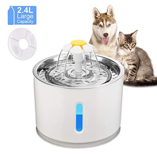 OurLeeme Fuente de Agua para Mascotas, 2.4L Perro Gato Fuente de Mascotas Dispensador de Agua automático Silenciador Activado con Cable USB (Fuente de Agua)