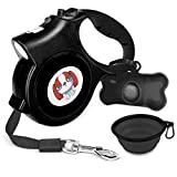 Mowis Small Retractable Dog Leash with Anti-Slip Handle, 16.4ft Dog Walking Leash for Small Medium Dogs up to 55lbs (Color: Black)
