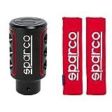 Sparco Spc0103 Pomello, Nero / Rosso & Spc1204Rd Protezioni Per Cintura Di Sicurezza, Rosso, Set Di 2