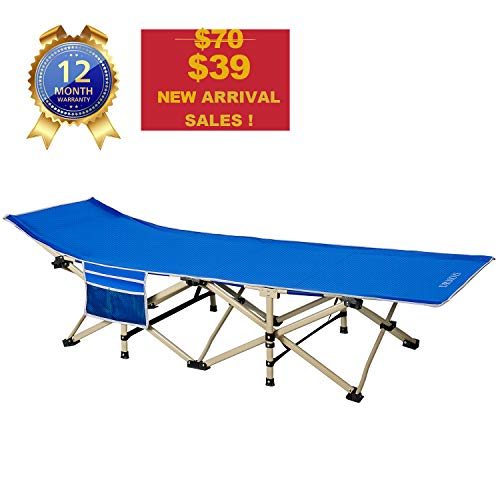 DRMOIS Camping cots, Oversized Portable Foldable Outdoor Bed for Adults Kids, Heavy Duty Cot for Traveling Gear Supplier, Office Nap, Beach Vocation and Home Lounging, Support 450 lbs (Royal Blue)