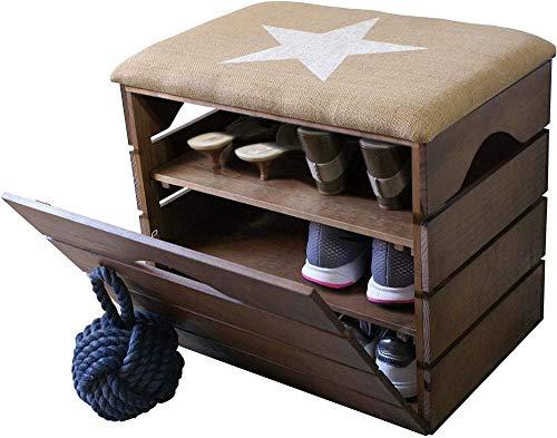 A-Generic Banco con Estante Zapato Corredor Asiento Cabinete Zapato de zapatería Cojín de Asiento Cojín de Zapatillas Zapato Bank Stand Rack con Puerta | Respetuoso del Medio Ambiente