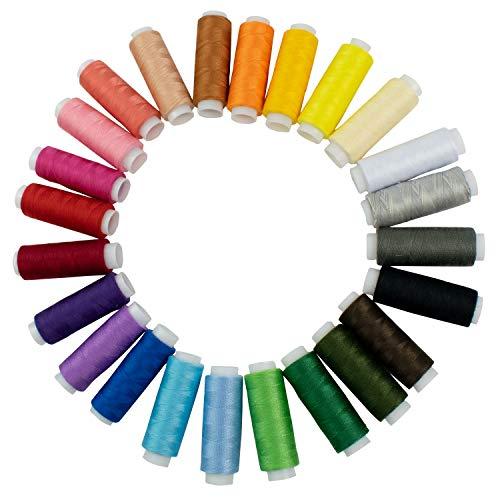 TRIXES Hilo de Coser de Poliéster - 24 Colores Surtidos - Bobinas de Hilo para Coser - Acolchado - Bordado - Costura