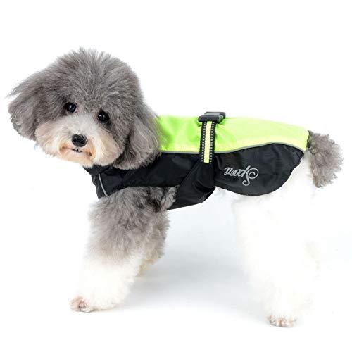 Zunea Regenmantel für kleine Hunde Wasserdicht Reflektierend Regenjacke Winddicht Leicht Netzfutter Regenschutz Welpen Kleidung für Jagd, Wandern, Chihuahua Bekleidung für nasse Tage Grün XL