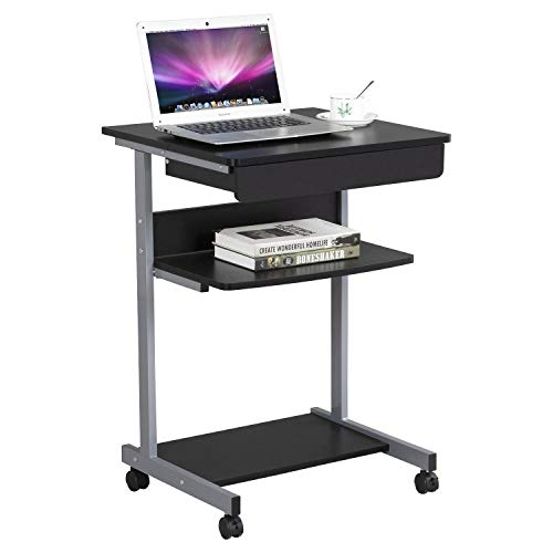 Yaheetech PC Tisch Computertisch Arbeitstisch mit 4 Rollen 2 mit Bremsen schwarz