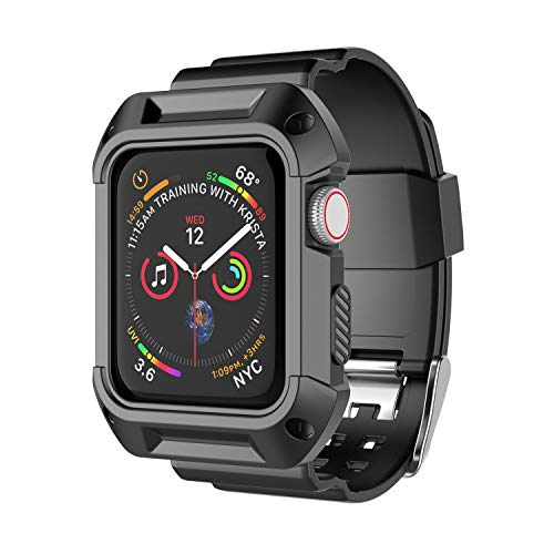 Takfox Smartwatch Band Case Compatible for Apple Watch Band 38mm, Sport Protective Bumper Case Breathable Strap Bands Replacement Watch Band for 38mm iWatch Series 3 Series 2 Series 1,Black