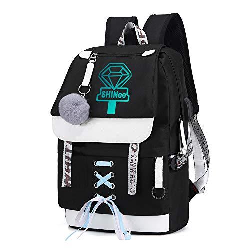 Shinee Rucksack für Kinder und Jugendliche Rucksack-Schul Trekking Rucksack Wandern Bag Trend Damenmode Wild Style Sport Daypack Erwachsener Lässige Kinder (Color : Black07, Size : 43 X 30 X 16cm)