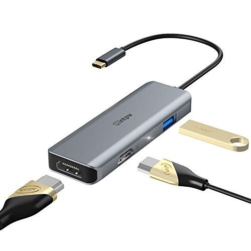Adaptador USB C a HDMI, INTPW tipo C a doble divisor HDMI 4K a 60Hz para MacBook Pro, Hub USB tipo C compatible con/ChromeBook, MacBook Air 2018/Chromebook Pixel/Dell XPS13 – gris espacio