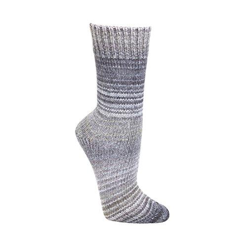 Wollsocken Skandinavien-Style wie handgestrickt, mit Umschlag für DamenundHerren CH-2198 (39-42, Grau)