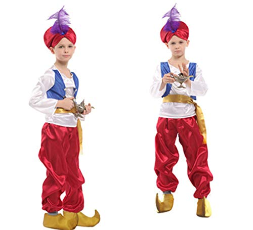Jcyanz Kinderen Halloween Feest Aladdin Kostuum Aladdin Lamp Elf Kostuum Adam Prins Fantasia Arabische Kostuum Kind Jongen Carnaval