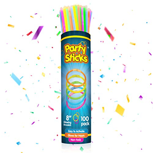 PartySticks Glow Sticks Party Supplies 100pk - 8 Inch Glow in the Dark Light Up Sticks Party Favors, Glow Party Decorations, Neon Party Glow Necklaces and Glow Bracelets with Connectors
