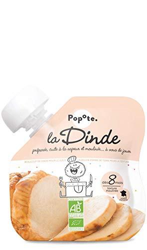 Popote - BIO - La Dinde Gourde de Viandes pour Bébé - dès 8 Mois - Texture Lisse - 60 g